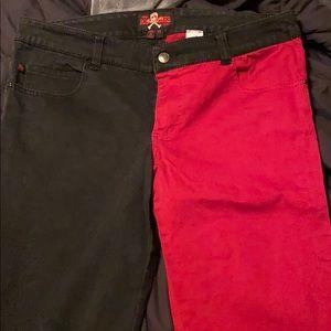 Royal bones red and black split jeans
